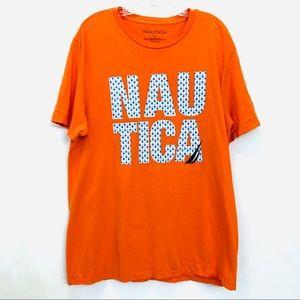 Nautica Orange Graphic Tee w/ Nautica Spell Out